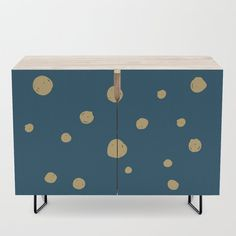 Hand Drawn Circles on Dark Blue Credenza by diana_ioana Office Cabinets, Bar Carts, Walnut Finish, Tv Stands, Birch, Cleaning Wipes, Mid-century Modern, Dark Blue, How To Draw Hands