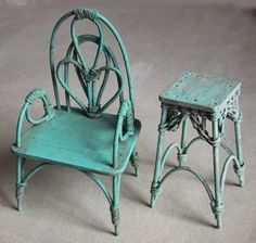 Lots of styles of miniature chairs, tables and baskets