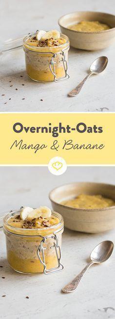 Overnight Oats sind gesund, lecker und vor allem einfach gemacht. Und das ganz bequem am Vorabend. Mit Mango und Banane besonders lecker.