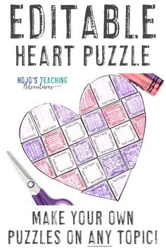 If you're on the lookout for some extra practice this February, you're going to love these heart puzzles. They're perfect to use with math, literacy, sight word, or literacy concepts you want to work on with your 1st, 2nd, 3rd, 4th, 5th, 6th, 7th, or 8th grade students. They're great for review, centers, stations, activities, to decorate a bulletin board, make a Valentine's Day card, and more. Click through to see how you can use these with your elementary or middle school students. 4th Grade Classroom, Middle School Classroom, English Classroom, Science Valentines, Valentines Day Activities, Middle School Activities, Math Activities, Grandparents Day Activities, Valentines Day Bulletin Board