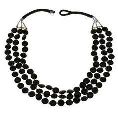 Collier noir en perles - Bijou fantaisie - Idée cadeau noël: ShalinCraft: Amazon.fr: Bijoux