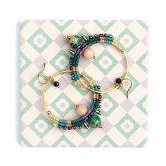 Large macrame earrings / rings / hoops, with miyuki beads, jasper and jade. Multicolor / gold. Bohemian / gypsy / ethnic jewelry. © Natacha Fayard