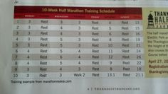 10 week training for half marathon.