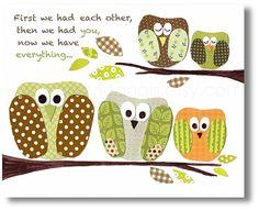 Nursery art print, baby nursery decor, Kids art, nursery boy, green orange, owl, bird, First we had each other - The Five Of Us 8x10 prints