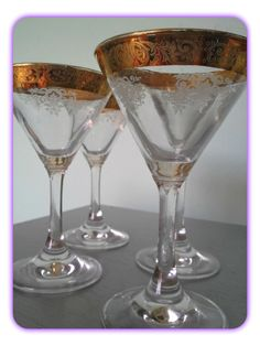 Vintage Mid Century Martini Glasses with Gold Ornate by SparkleSet