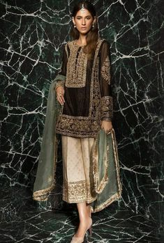 Brown Salwar Kameez Trousers Suit for Christmas in New York, USA. High quality Pakistani Fashion Dresses at Dress Republic Store.