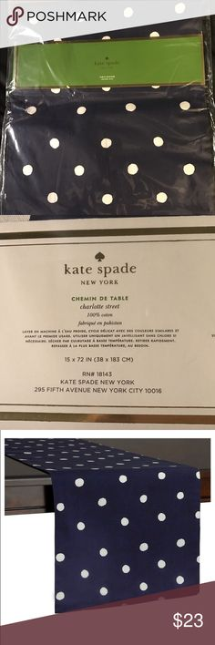 Kate spade table runner Brand new Kate Spade New York Charlotte Street table runner 15×72 inches navy with white polkadot. kate spade Other