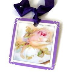 8 Gift Tags Roses Lavender Purple Floral Tags by TAKUniqueDesigns