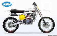 - by Oberdan Bezzi Ktm Dirt Bikes, Motocross Bikes, Vintage Motocross, Dirt Biking, Desert Sled, Scrambler Motorcycle, Classic Series, Motorcycle Design, Vintage Bikes
