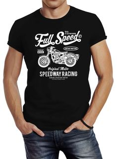 Herren T-Shirt Biker Shirt Full Speed Motorrad Slim Fit Neverless® Speedway Racing, Biker Shirts, Herren T Shirt, Slim Fit, Fitness, Mens Tops, Women, Fashion, Moda