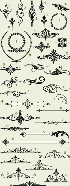 Really cool ideas for easy tattoos white Ink Letterhead Fonts / LHF Americana Ornaments / Golden Era Studios Stencils, Doodles, Letterhead, Arabesque, Henna Designs, Design Elements, Design Art, Art Elements, Design Ideas
