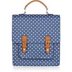 Accessorize Spot Kensington Backpack ($59) ❤ liked on Polyvore featuring bags, backpacks, dot backpack, blue satchel handbags, satchel backpack, satchel handbags and blue satchel
