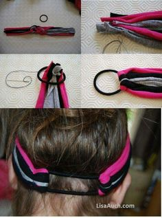 DIY: Make Your Own Fabulous Headbands Using Old T-shirts How to make easy knotted fabric headbands and fabric flowers from your Old T-shirts. Fabric Headbands, Flower Headbands, Stretchy Headbands, Handmade Headbands, Diy Couture, Diy Headband, Headband Tutorial, Bow Tutorial, Turban Headbands