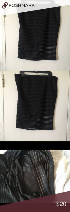 Black striped sheer skirt size 3X Black sheer stripe skirt with material underneath to cover up your important area but just enough sheer at the bottom to look sexy. Or you can cut the skirt part out and make it a swim skirt Skirts