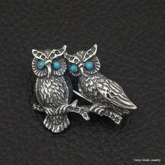 DOUBLE OWL TURQUOISE 925 STERLING SILVER GREEK HANDMADE ART BROOCH #IreneGreekJewelry