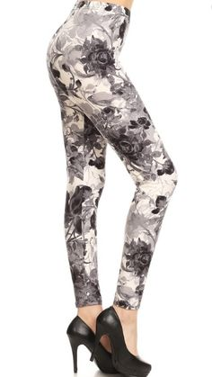 aeea2f9e02 Black & White Floral High Waisted Leggings Leggings Depot, Soft Fabrics,  Spandex, Boutique