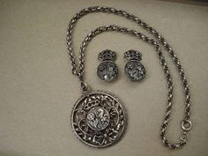 Vintage 1970s Lion Monarch Necklace Set Mod Pewter by bycinbyhand, $29.00 #bycinbyhand #cinsfreshpicked #costumejewelry #boho #lion #pewter #coro #leo #70sglamour