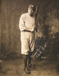 Photo of Babe Ruth in his New York Yankees baseball uniform. This full length photo portrait of famous baseball player Babe Ruth shows him posed in his Yankees pinstripes with a baseball bat in hand. CREDIT / PHOTOGRAPHER: ©RMP Archive / Anon DATE: 1920 Babe Ruth, Ruth 3, New York Yankees Baseball, Ny Yankees, Espn Baseball, Baseball Hat, Damn Yankees, Baseball Field, Yankees Baby
