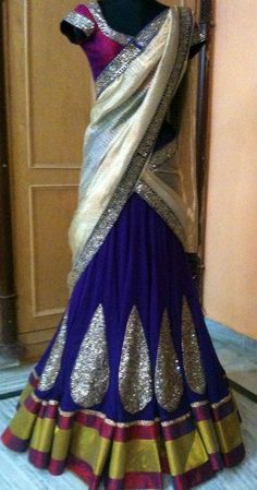 Dark Blue Half Saree with Silver Embellishments, white dupata and magenta blouse Indian Bridal Wear, Indian Wedding Outfits, Pakistani Outfits, Bridal Outfits, Indian Outfits, Indian Attire, Indian Ethnic Wear, Indian Style, Bollywood Dress