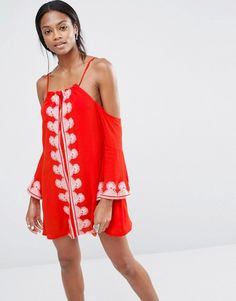 Missguided Cold Shoulder Embroidered Swing Dress