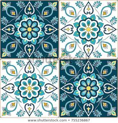 tiles Patterns Portuguese tile pattern vector with baroque floral ornament motifs. Portugal azulejo, mexican talavera, spanish or italian majolica design. Tiled texture background for wallpaper or flooring ceramic. Ceramic Painting, Ceramic Art, Ceramic Pottery, Tile Patterns, Pattern Art, Free Pattern, Baroque, Motif Arabesque, Spanish Tile