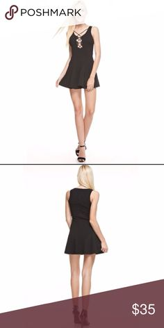 LACE UP FRONT BLACK MINI DRESS TRENDY SIMPLE Super cute dress, new with tags. Lace up front all black mini dress! Have any questions? I bet I have answers so feel free to ask!!! Dresses Mini