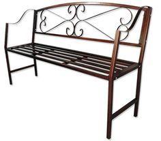 Garden Bench - Antique Bronze Steel Outdoor Patio Furniture | Crazy ...