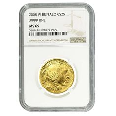 2008-W 1/2 oz $25 Burnished Gold American Buffalo Coin NGC MS 69