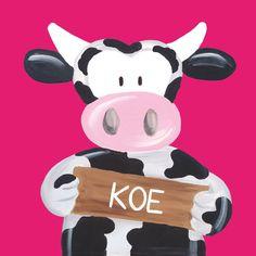 Kinderschilderijtje Beessie Koe. Fuchsia roze lek voor een meiden kamer! www.beessies.com