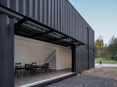 Pivoting garage door, Shipping Container, Bard College