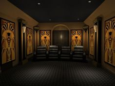 Art Deco Styled Home Theater 35 Modern Media Room Designs That Will Blow You Away