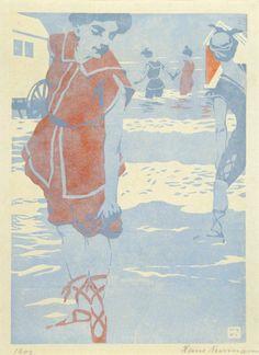 Wimpelkette - Farbholzschnitt - Neumann, Hans (1873-1957) - Badefreuden