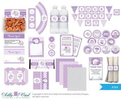 Purple Lilac Elephant Baby Girl Shower Printable Party Kit with girl baby elephant, chevron, polka, violet, gray- ONLY digital file - ao46