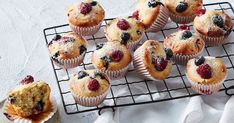 Made from sweetened condensed milk, raspberries and blueberries these easy muffins make a sweet morning or afternoon tea treat.
