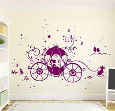 Wandtattoo Kutsche Prinzessin Cinderella Sterne Sternenhimmel  Sternensticker (lila) Tolle Wandgestaltung Für Das Kinderzimmer Einer
