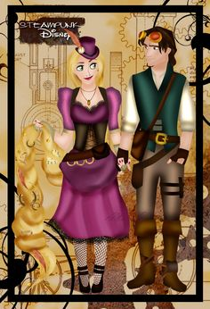 Steampunk Rapunzel and Eugene by ~HelleeTitch on deviantART