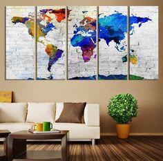 "Large Wall Art Canvas Print World Map on Brick Wall Large Wall Art World Map Art XLarge - 10""x24"" (50""x24"")"