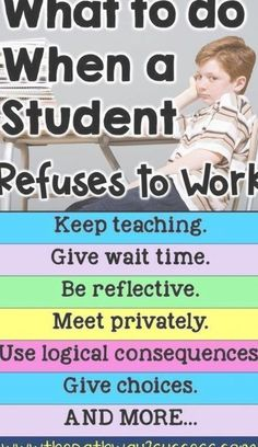 What to do when a student is refusing to work. Strategies and ideas for educators working with eleme School Kids, Pre School, Middle School, High School, Memorial Day Sales, Happy Memorial Day, Bulletin Board Display, Following Directions, Newborn Baby Photography