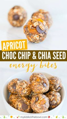 no-bake bites with Apricot,Choc Chips and Chia Seeds, these energy balls make a . - no-bake bites with Apricot,Choc Chips and Chia Seeds, these energy balls make a healthy snack for k - Easy Snacks For Kids, Snacks For Work, Kids Meals, Healthy School Snacks, Healthy Kids, No Bake Energy Bites, Energy Balls, Fudge, Clean Eating Snacks