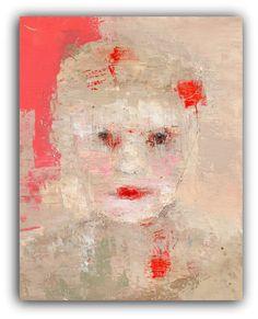 Dear Hettie  Original Painting  Textured Portrait Painting by ChristinaRomeo, $135.00