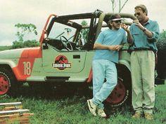 Steven Spielberg & Sam Neil on set of Jurassic Park