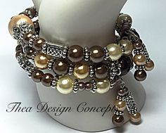 Beaded Memory Wire Bracelet Beige & Brown by TheaDesignConcepts
