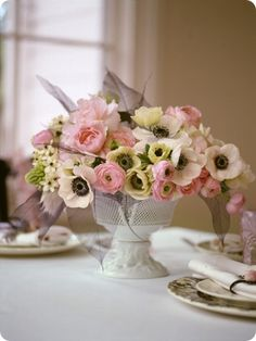 pink white centerpiece peonies ranunculous anemonies - on ceremony table @Melek Atar Yılmaz :)