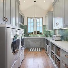 Laundry Room with Vaulted Ceiling