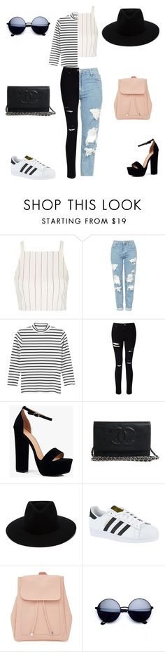 """Untitled #98"" by melissa-kahr ❤ liked on Polyvore featuring Topshop, Monki, Miss Selfridge, Boohoo, rag & bone, adidas, New Look and stripedshirt"