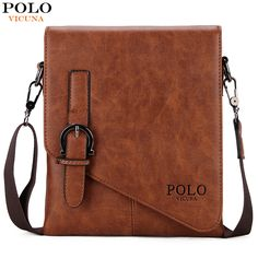 VICUNA POLO Unique Buckle Design Irregular Cover Open Mens Messenger Bag 2 Sizes Business Men Crossbody Bag Leather Man Bag Hot * You can get additional details at the image link.