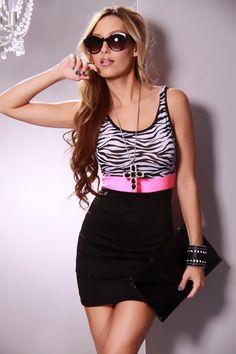 Short black & zebra print dress with pink belt from Ami Club.