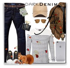 """""""Menswear Essential: Dark Denim"""" by eula-eldridge-tolliver ❤ liked on Polyvore featuring Scotch & Soda, Witchery, American Coin Treasures, Native Union, New Era, Persol, Lucky Brand, Gucci, FOSSIL and men's fashion"""
