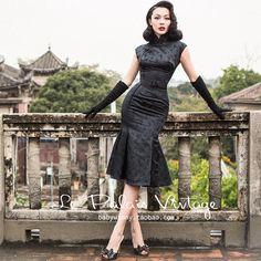 Le palais de la vendimia patrón de mariposa negro delgado vestidos de las mujeres 2017 resorte de la nueva llegada de la alta cintura mermaid dress tight cheongsam