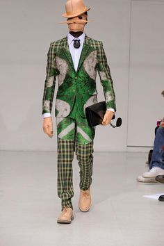 High fashion goes way beyond what people actually wear, but that bombastic creativity is what filters down into what we pick up in stores - and this set has a fusion of the bold, the urban and the dandy. From the Walter Van Beirendonck Autumn/Winter collection.